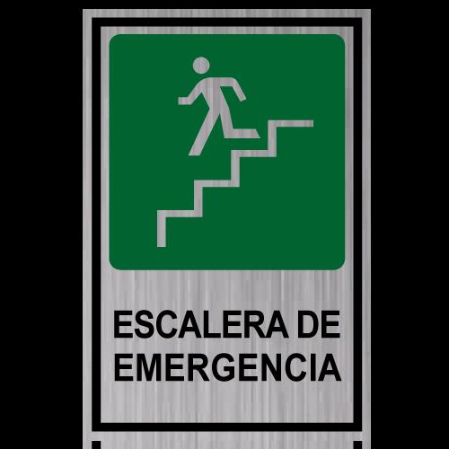GS08 placa grabada escalera de emergencia bajando izquierda