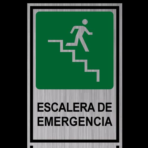 GS09 placa grabada escalera de emergencia bajando derecha