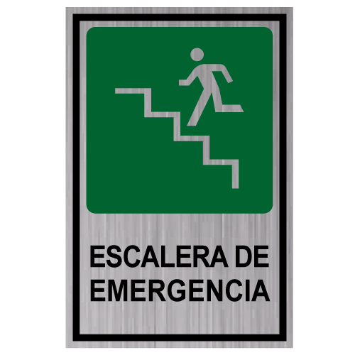 GS10 placa grabada escalera de emergencia subiendo izquierda