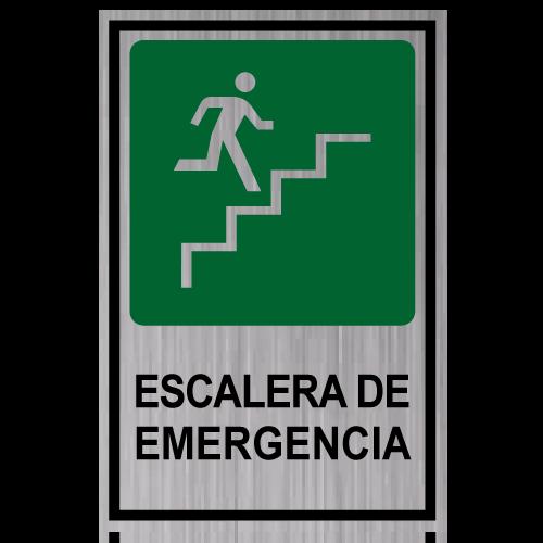 GS11 placa grabada escalera de emergencia subiendo derecha