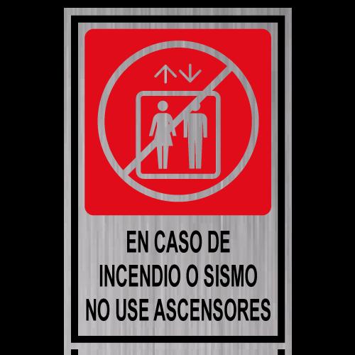 GS19 placa grabada no usar ascensor en caso de incendio o sismo
