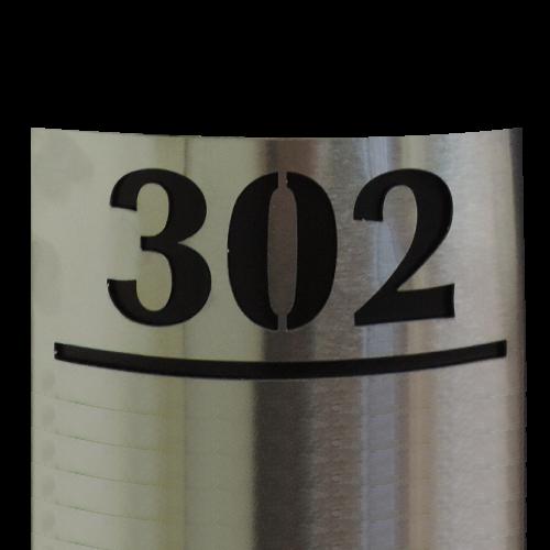 PA500 numero de departamento semicilindrado acero inoxidable numero calado laser 12x6 cms