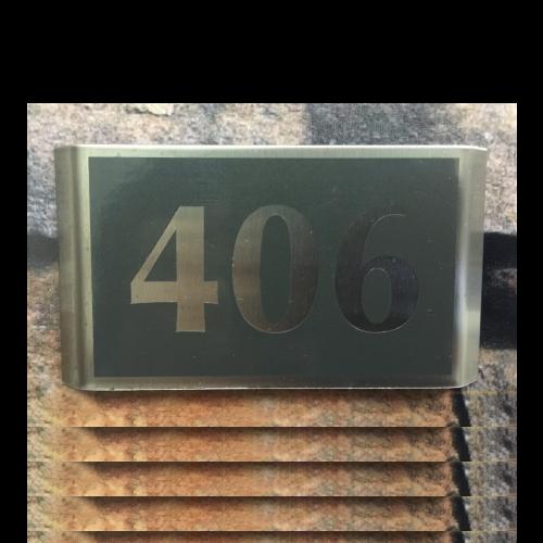 PB100 Numero depto acero inoxidable adhesivo charcoal 12x6 cms - 1