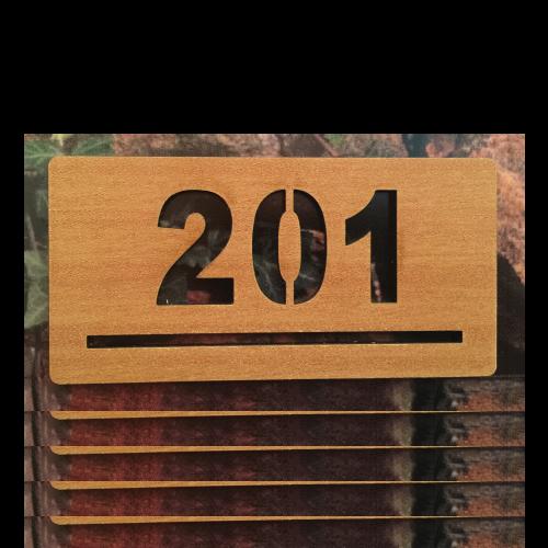 PM100 Numero de departamento madera calado laser 12x6 cms - 1