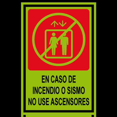 SF05 placa fotoluminiscente en caso de incendio o sismo no use ascensores