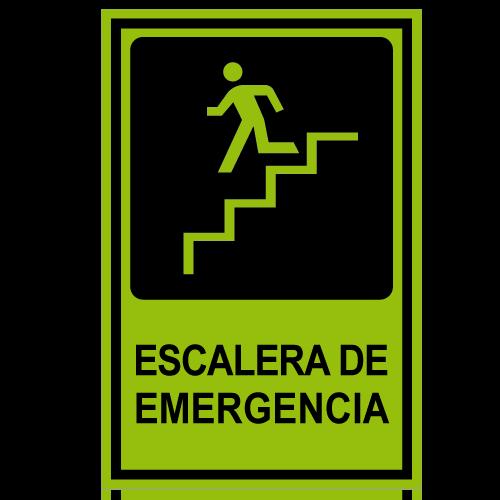 SF10 placa fotoluminiscente escalera de emergencia bajando izquierda