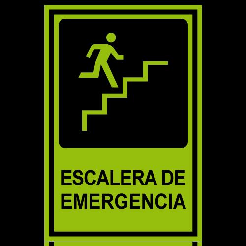 SF11 placa fotoluminiscente escalera de emergencia subiendo derecha
