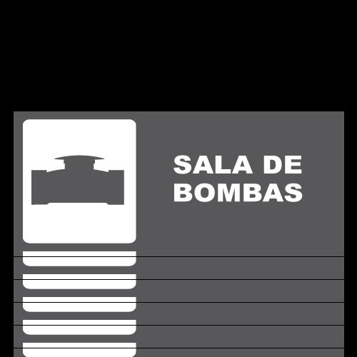 SS05 placa sintra impreso sala de bombas